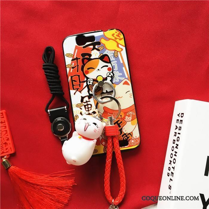 Huawei Ascend G7 Coque Ornements Suspendus Rouge Incassable Chat Richesse Tendance Protection