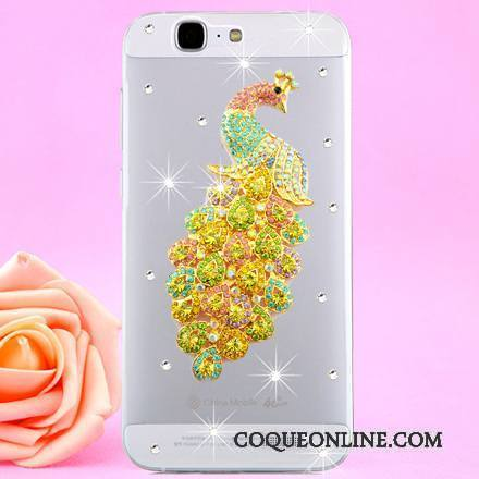 Huawei Ascend G7 Or Coque De Téléphone Étui Transparent Protection Strass Cou Suspendu