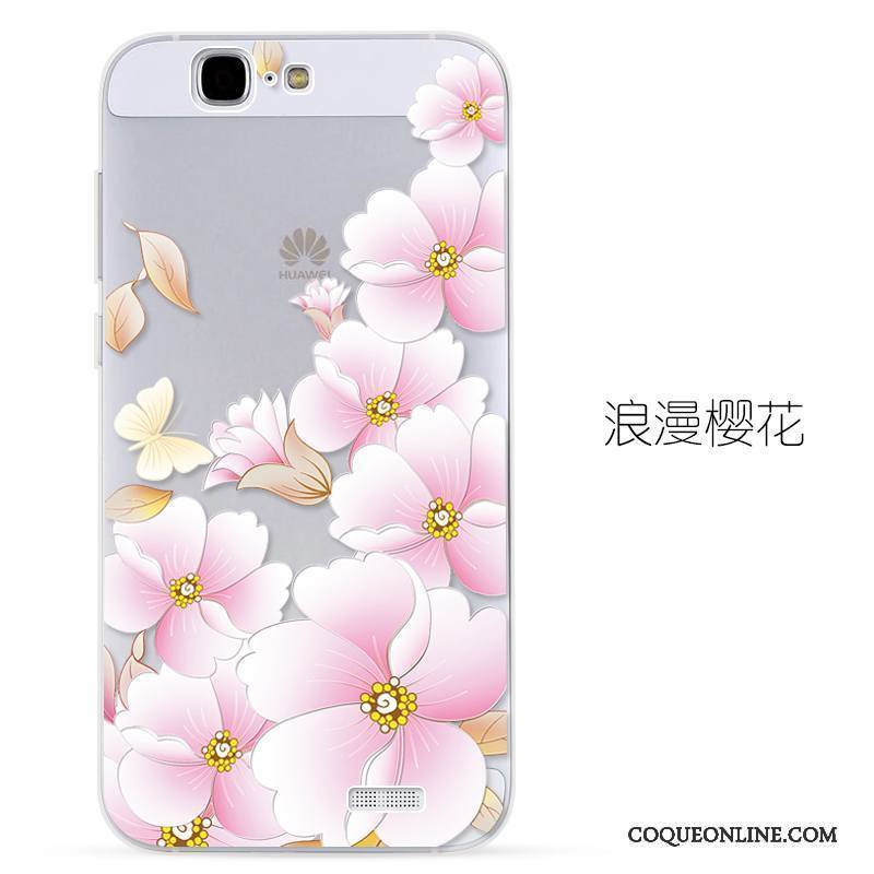 Huawei Ascend G7 Protection Transparent Silicone Rose Gaufrage Étui Coque