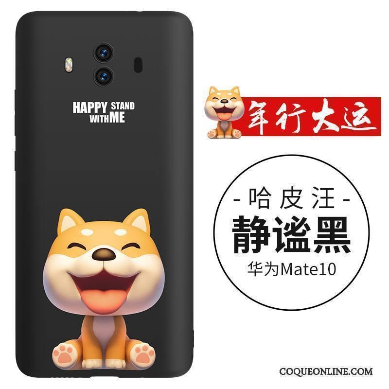 Huawei Mate 10 Coque Chiens Charmant Noir Incassable Légère Dessin Animé Silicone