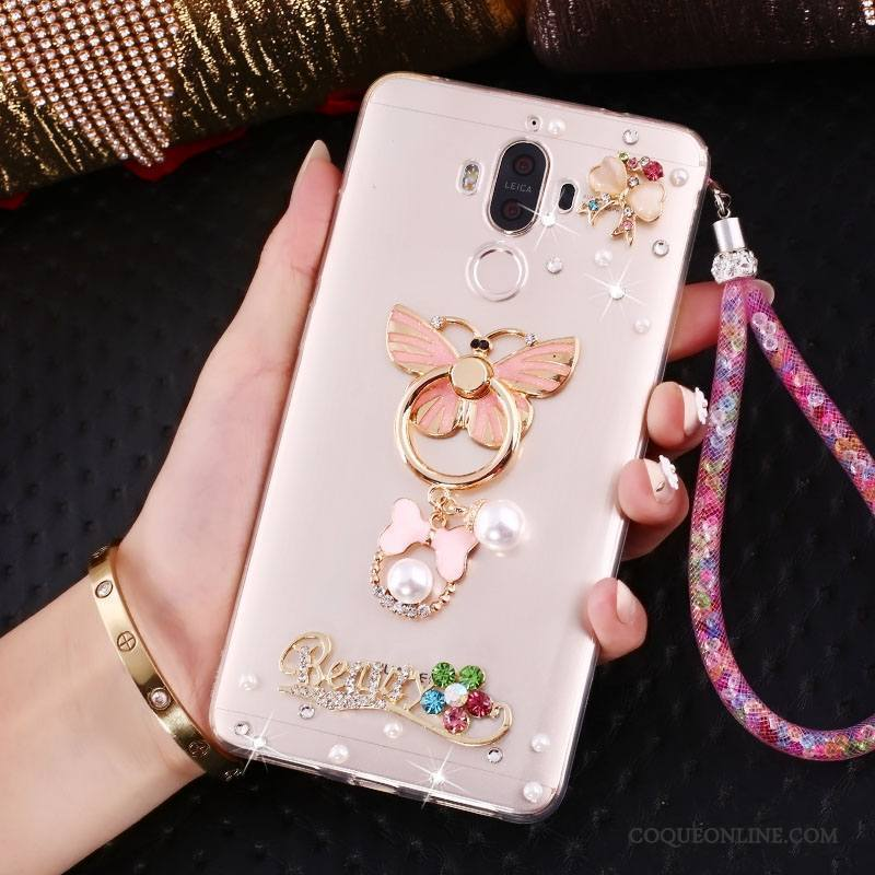 Huawei Mate 10 Pro Coque Ornements Suspendus Rose Support Strass Protection Étui Anneau