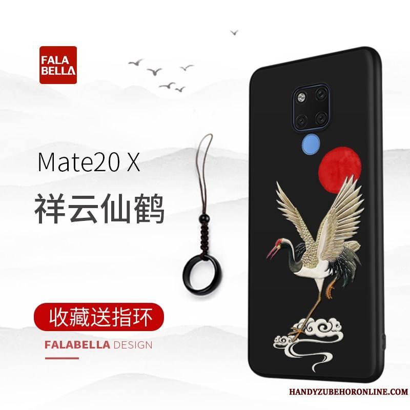 Huawei Mate 20 X Coque De Téléphone Gaufrage Étui Luxe Noir Authentique Très Mince