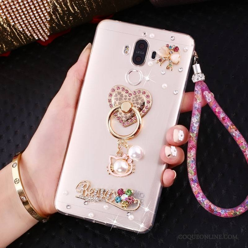 Huawei Mate 9 Rose Incruster Strass Coque De Téléphone Fluide Doux Silicone Support