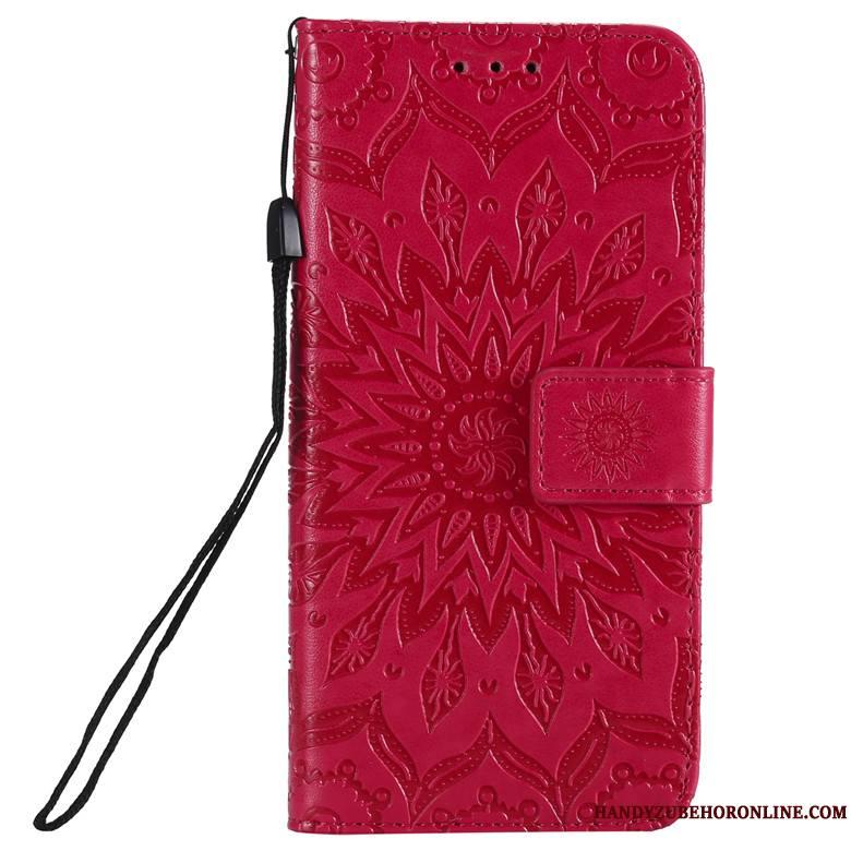 Huawei P Smart+ 2019 Coque Rouge Tout Compris Protection Fluide Doux Housse Silicone Fleur