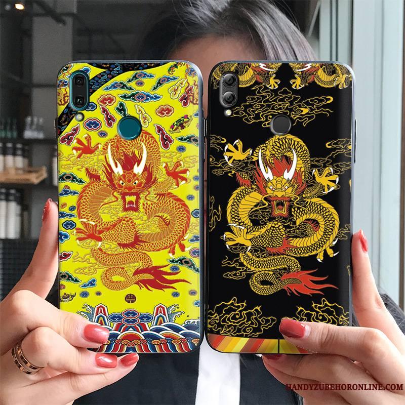Huawei P Smart+ 2019 Personnalité Ornements Suspendus Noir Étui Robes Gaufrage Coque De Téléphone