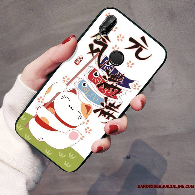 Huawei P Smart+ Coque Ornements Suspendus Charmant Protection Incassable Tout Compris Gaufrage Chat