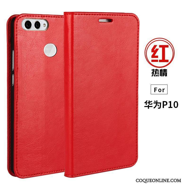 Huawei P10 Portefeuille Cuir Téléphone Portable Support Coque Cuir Véritable Étui