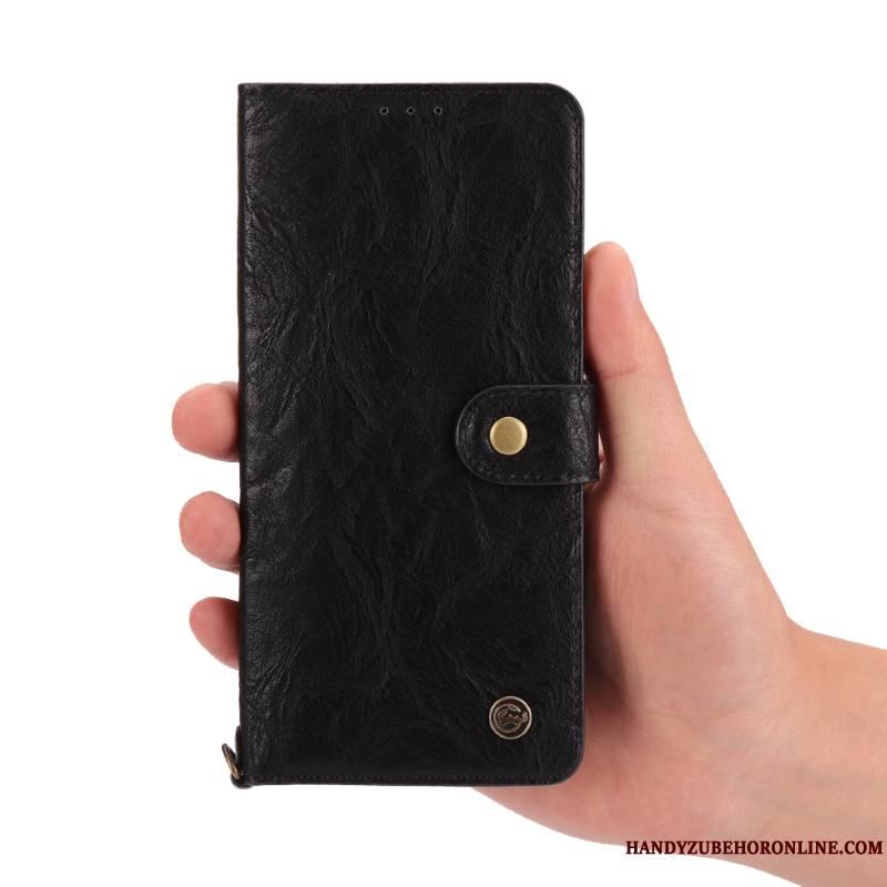 Huawei P20 Pro Protection Étui Coque De Téléphone Incassable Noir Cuir Véritable Étui En Cuir