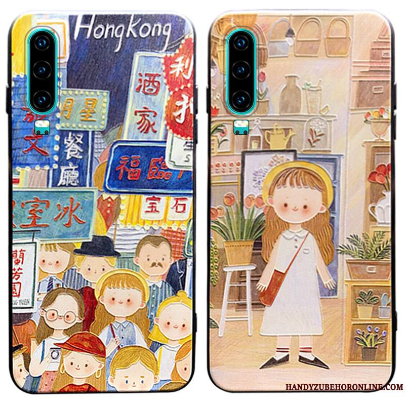 Huawei P30 Coque Incassable Tendance Silicone Boucle Charmant Dessin Animé Support