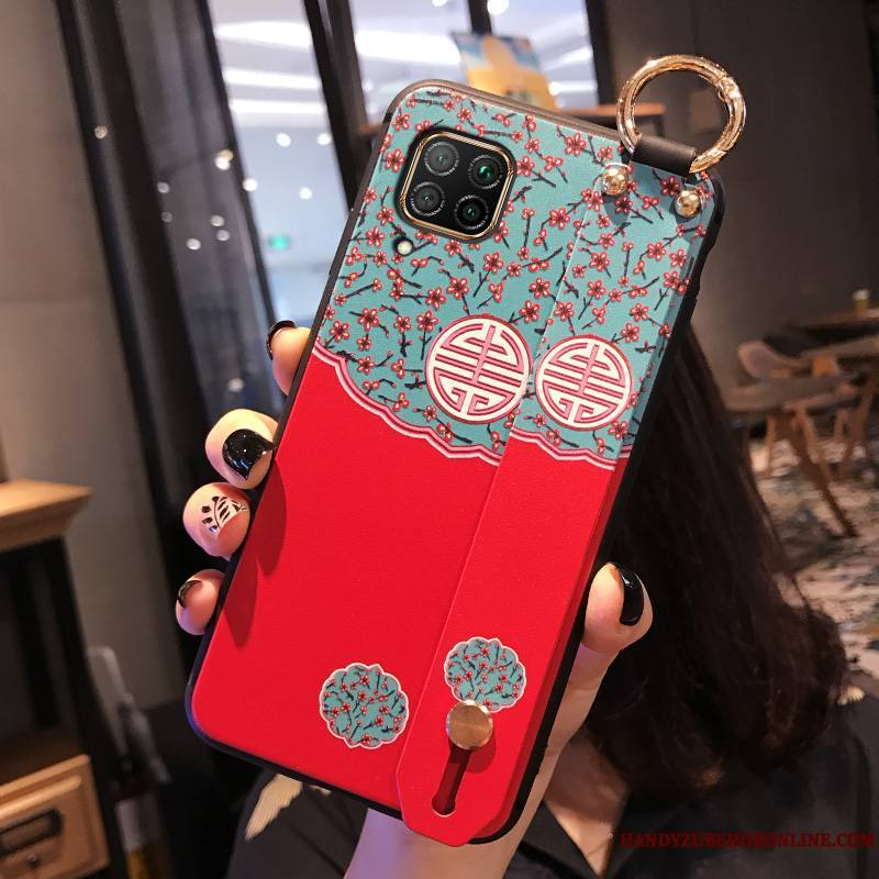 Huawei P40 Lite Vent Coque Style Chinois Rouge Silicone Incassable Tout Compris