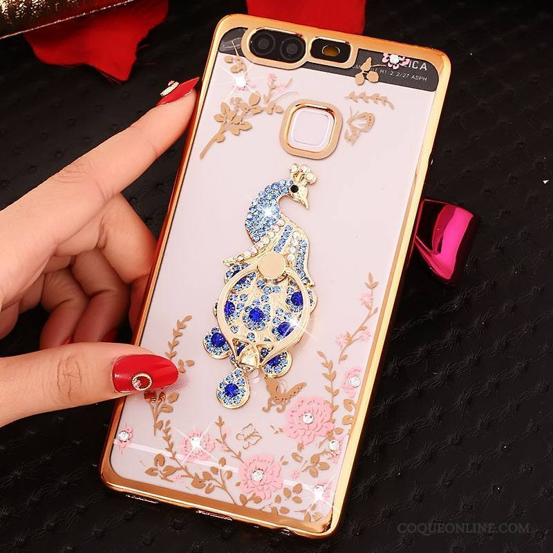 Huawei P9 Anneau Or Coque Étui Strass Silicone Protection