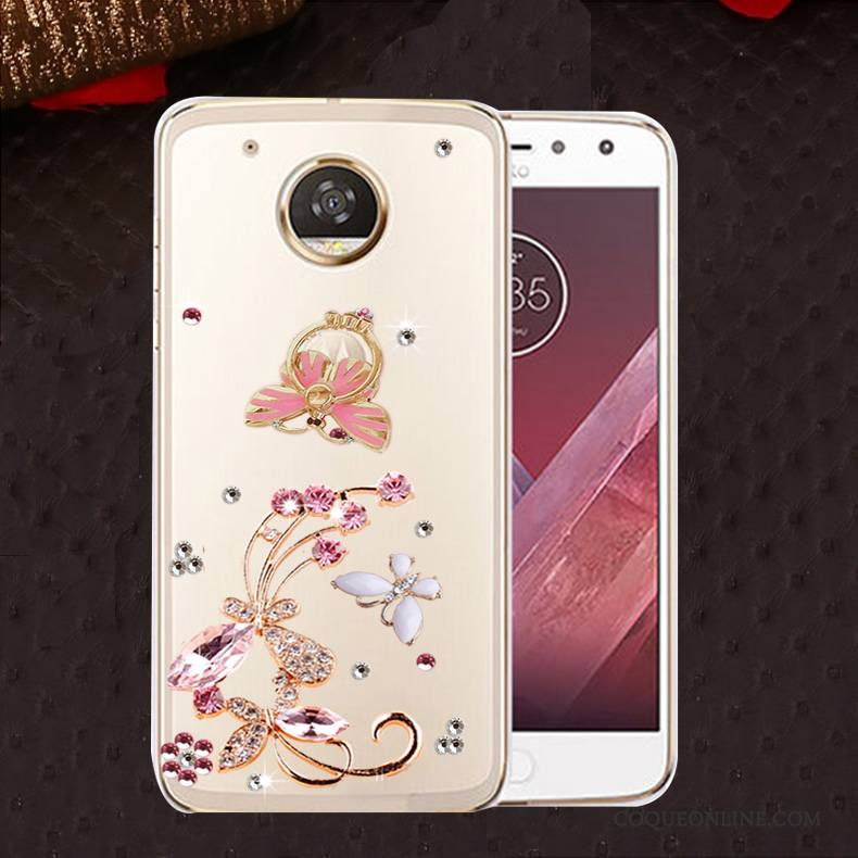 Moto E4 Coque Protection Incassable Silicone Strass Étui Or
