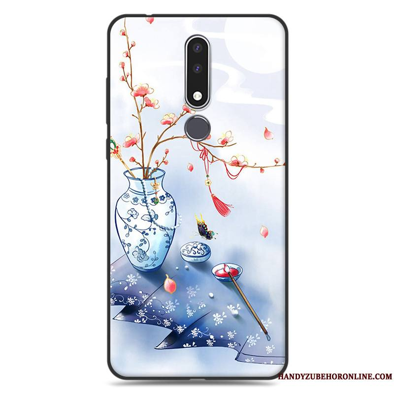 Nokia 3.1 Plus Coque Fluide Doux Incassable Simple Bleu Art Étui