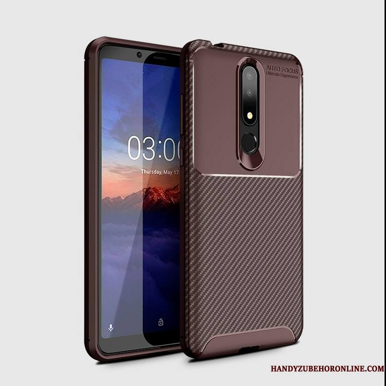Nokia 3.1 Plus Protection Marron Coque Silicone Étui Fibre Incassable