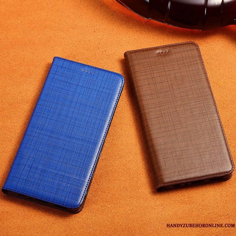 Redmi Note 6 Pro Coque Bleu Étui Étui En Cuir Tout Compris Incassable Cuir Véritable Silicone