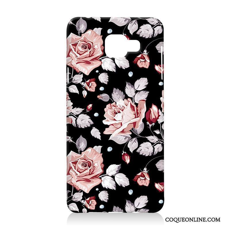 Samsung Galaxy A5 2016 Fluide Doux Fleurs Silicone Coque De Téléphone Noir Difficile Étui