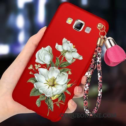 Samsung Galaxy A8 Rouge Délavé En Daim Coque Fluide Doux De Téléphone Protection Incassable