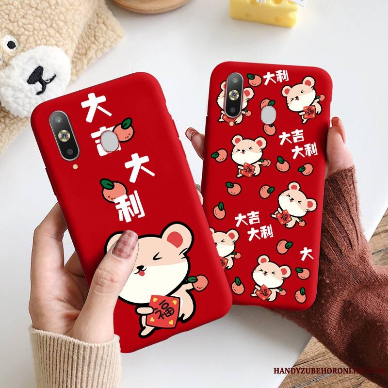 Samsung Galaxy A8s Coque Silicone Très Mince Incassable Personnalité Style Chinois Rouge Étoile