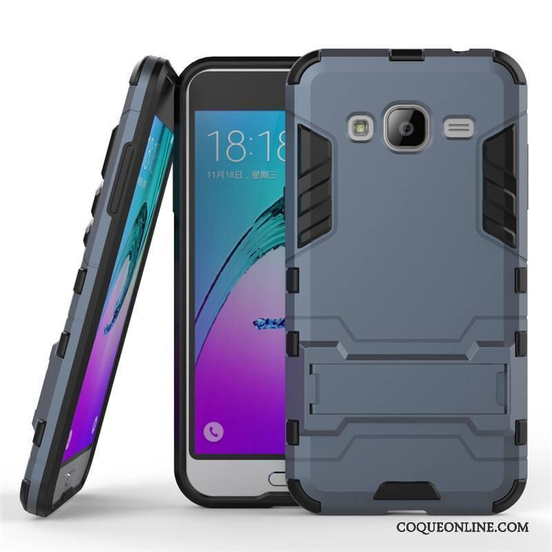 Samsung Galaxy J3 2016 Coque Étui Gris Téléphone Portable Support Étoile Difficile