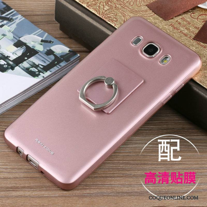 Samsung Galaxy J7 2016 Coque Étui Support Protection Silicone Or Rose Incassable Tout Compris