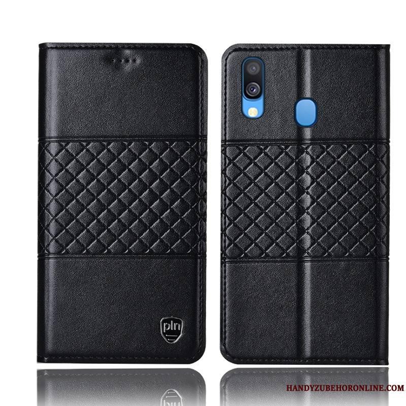 Samsung Galaxy M20 Étui En Cuir Protection Coque De Téléphone Noir Étoile Incassable Housse