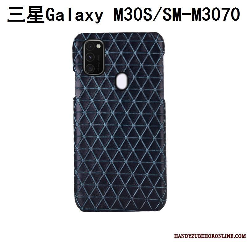 Samsung Galaxy M30s Luxe Cuir Véritable Bleu Couvercle Arrière Téléphone Portable Plaid Coque De Téléphone