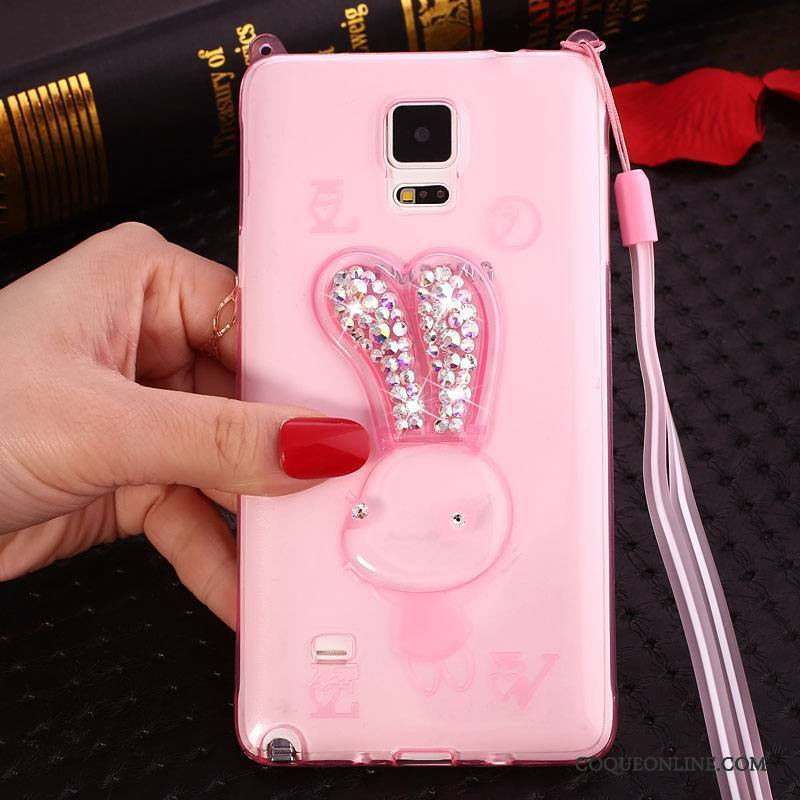 Samsung Galaxy Note 4 Coque Rose Silicone Fluide Doux Ornements Suspendus Strass Protection Dessin Animé