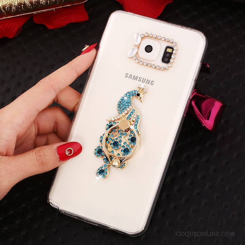Samsung Galaxy Note 5 Blanc Téléphone Portable Silicone Protection Étoile Coque Strass