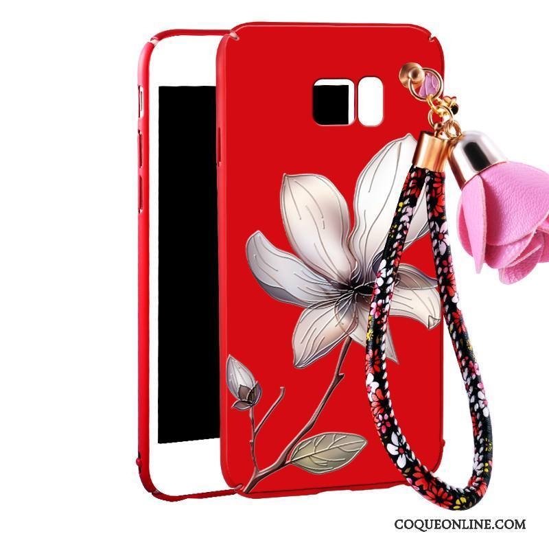 Samsung Galaxy Note 5 Coque Floral Rouge Ornements Suspendus Protection Incassable Étui Tout Compris