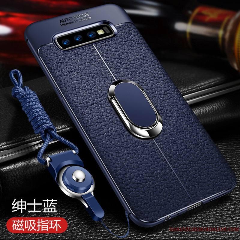 Samsung Galaxy S10+ Luxe Coque Silicone Étui En Cuir Fluide Doux De Téléphone Bleu