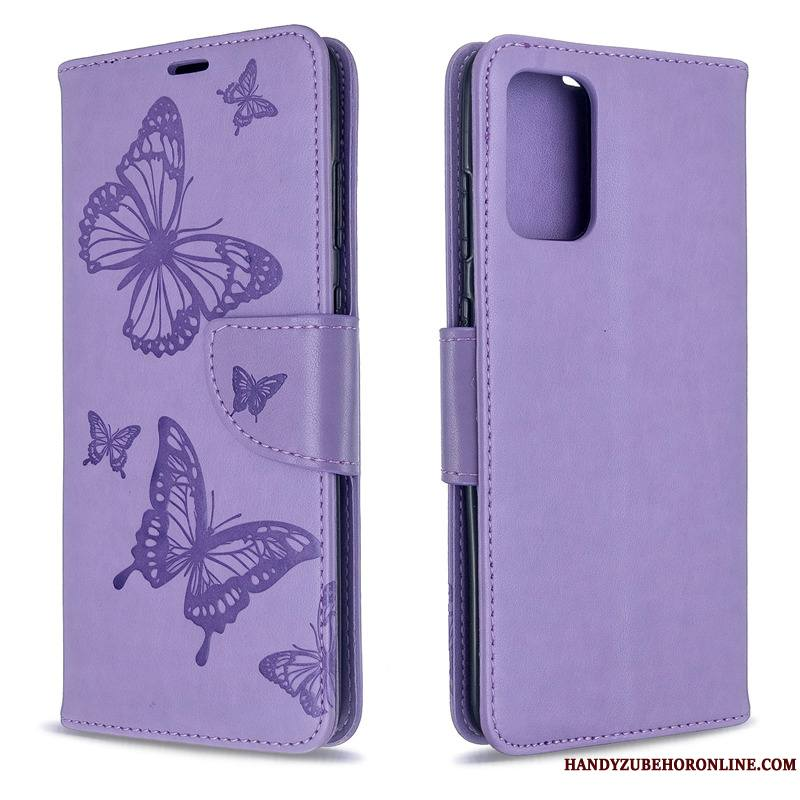 Samsung Galaxy S20 Coque Papillon Housse Couleur Unie En Relief Étui Gaufrage Ornements Suspendus