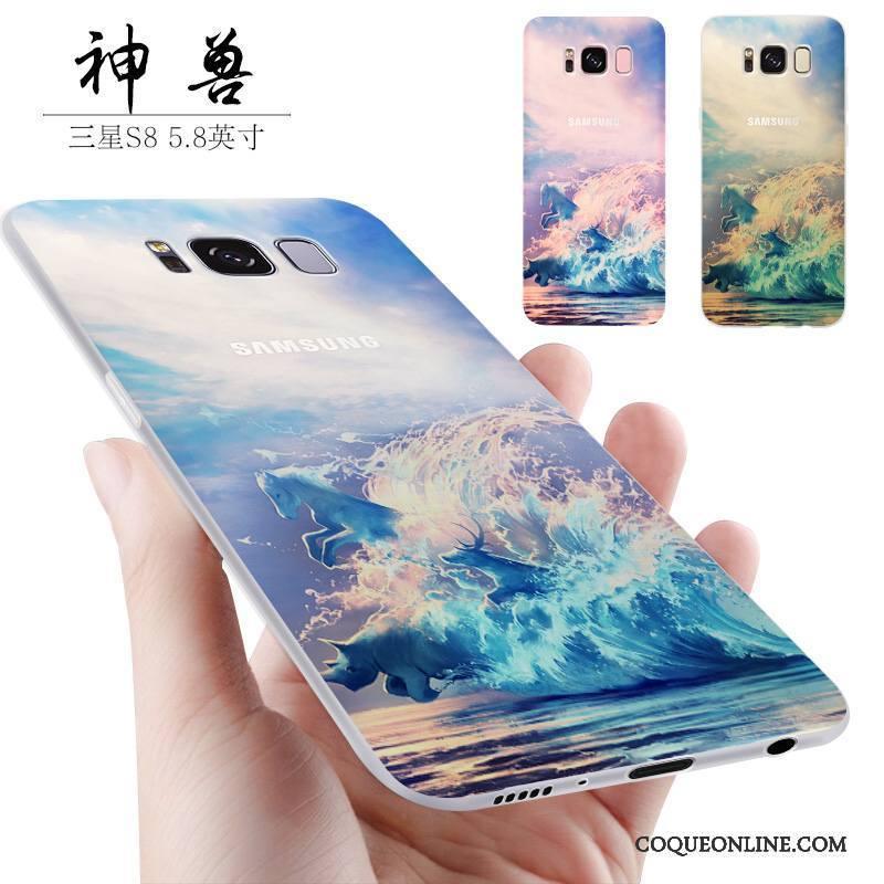 Samsung Galaxy S8+ Étui Silicone Coque De Téléphone Incassable Bleu Petit Étoile