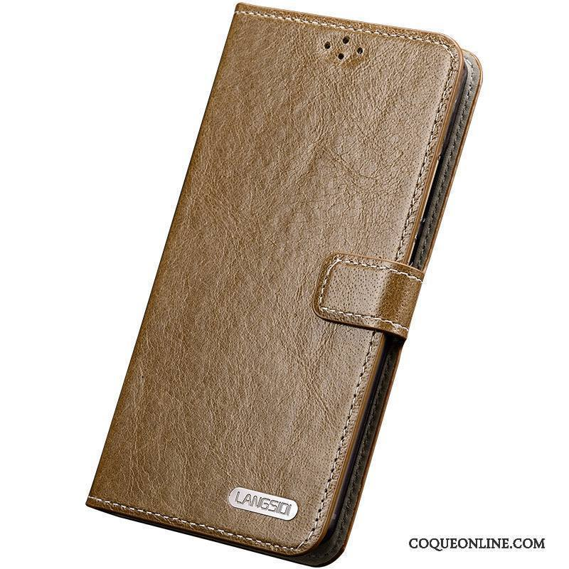 Sony Xperia Z3+ Coque Marron Incassable Étui En Cuir Silicone Simple Cuir Véritable Clamshell