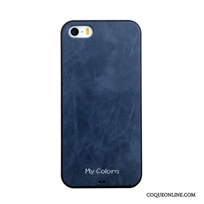 iPhone 5/5s Protection Couleur Unie Cuir Incassable Étui Bleu Coque