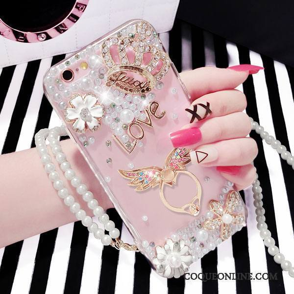 iPhone 6/6s Coque Support Silicone Personnalité Rose Incassable Protection Strass