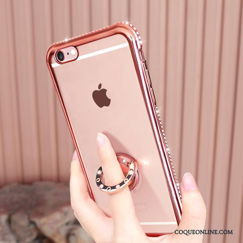 iPhone 6 6s Plus Étui Silicone Strass Incassable Transparent Or Rose Coque De Téléphone 596