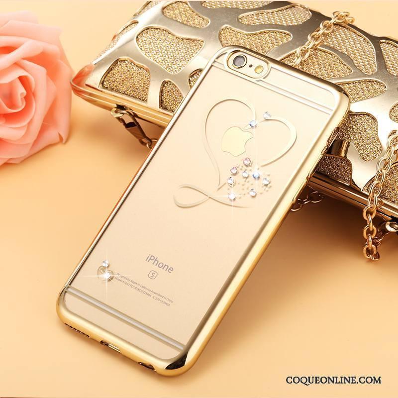 iPhone 6/6s Plus Strass Or Incassable Transparent Coque De Téléphone Fluide Doux Protection