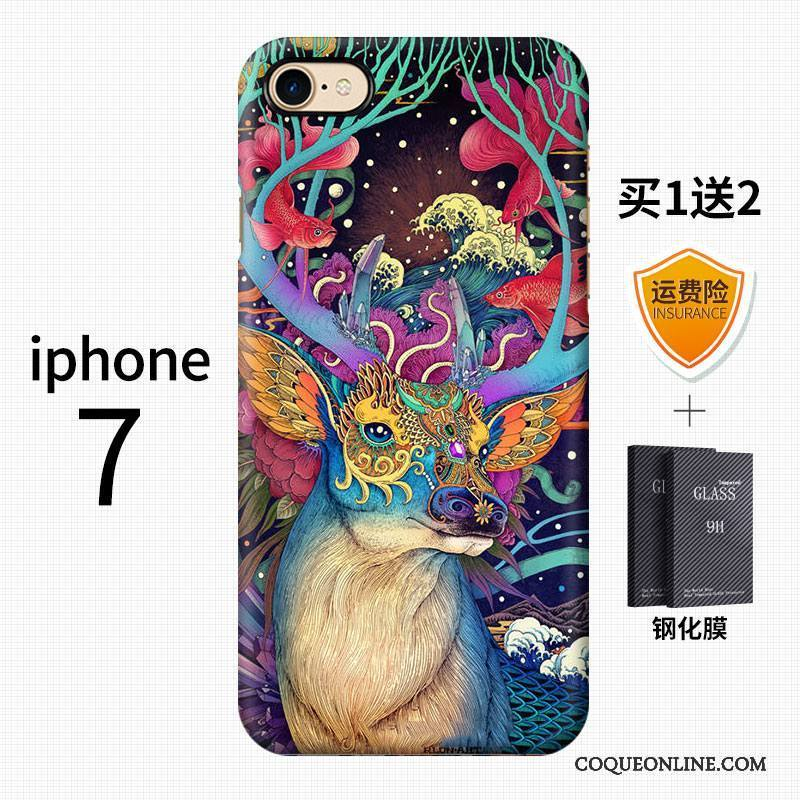 iPhone 7 Art Tendance Style Chinois Incassable Délavé En Daim Multicolore Coque De Téléphone 938