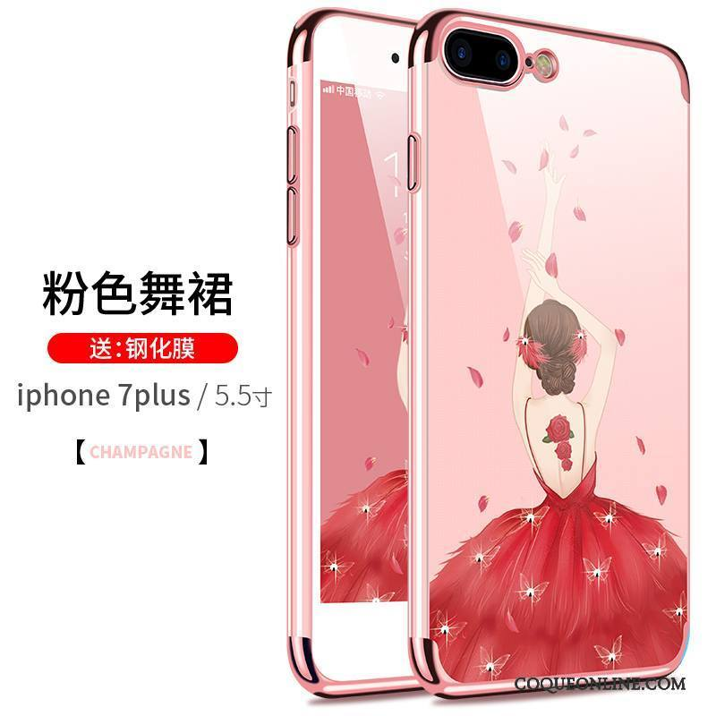 iPhone 7 Plus Coque Très Mince Fluide Doux Transparent Rose Silicone Incassable