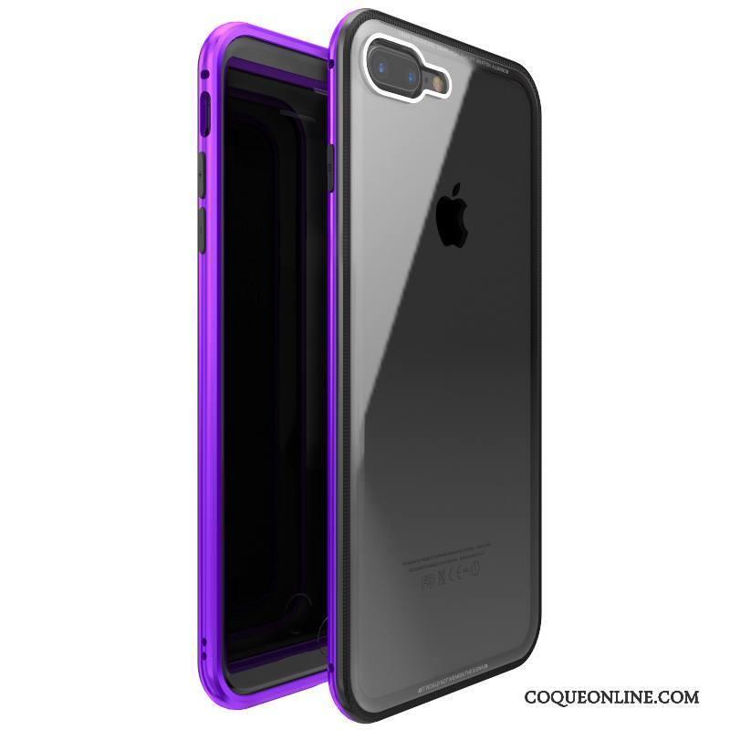 iPhone 7 Plus Métal Coque De Téléphone Violet Verre Trempé Incassable Étui Tout Compris 1154