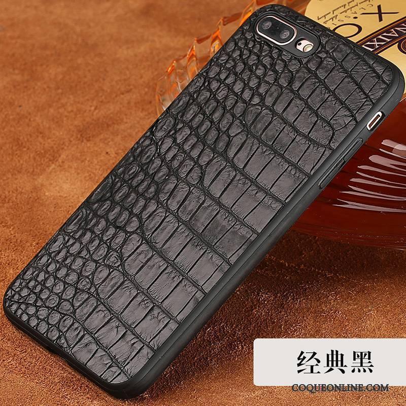 iPhone 8 Élégant Nouveau Étui En Cuir Noir Cuir Véritable Luxe Coque De Téléphone