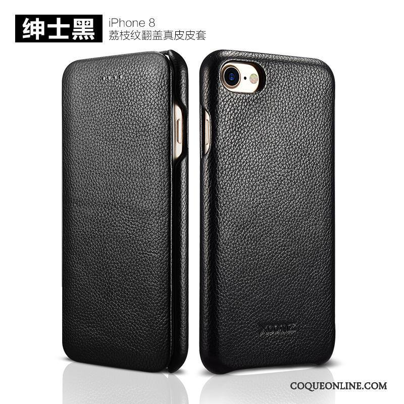iPhone 8 Coque Étui Étui En Cuir Protection Housse Simple Incassable Cuir Véritable