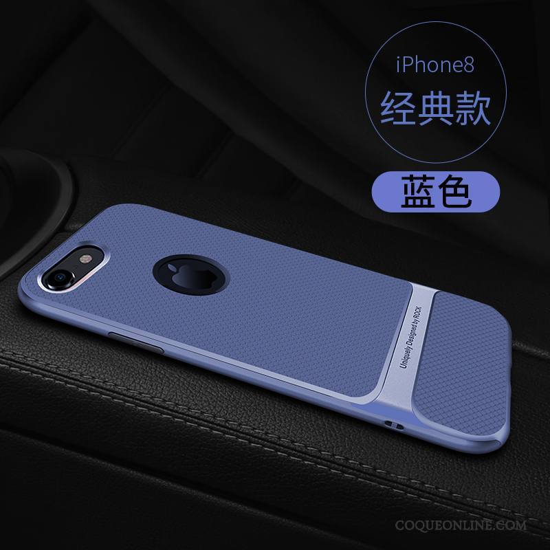 iPhone 8 Coque Incassable Bleu Fluide Doux Support Nouveau Silicone Ornements Suspendus
