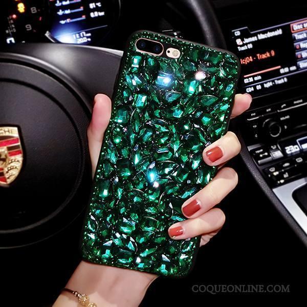 iPhone 8 Plus Luxe Strass Vert Coque De Téléphone Marque De Tendance Silicone Étui 1485