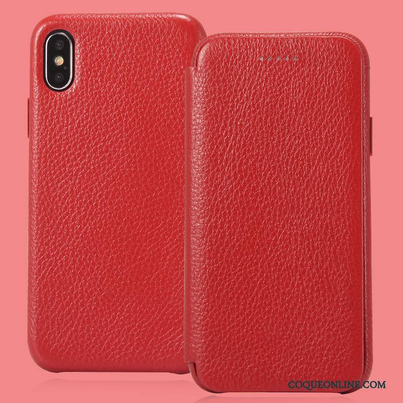 iPhone X Coque Protection Business Carte Cuir Véritable Dormance Housse Incassable