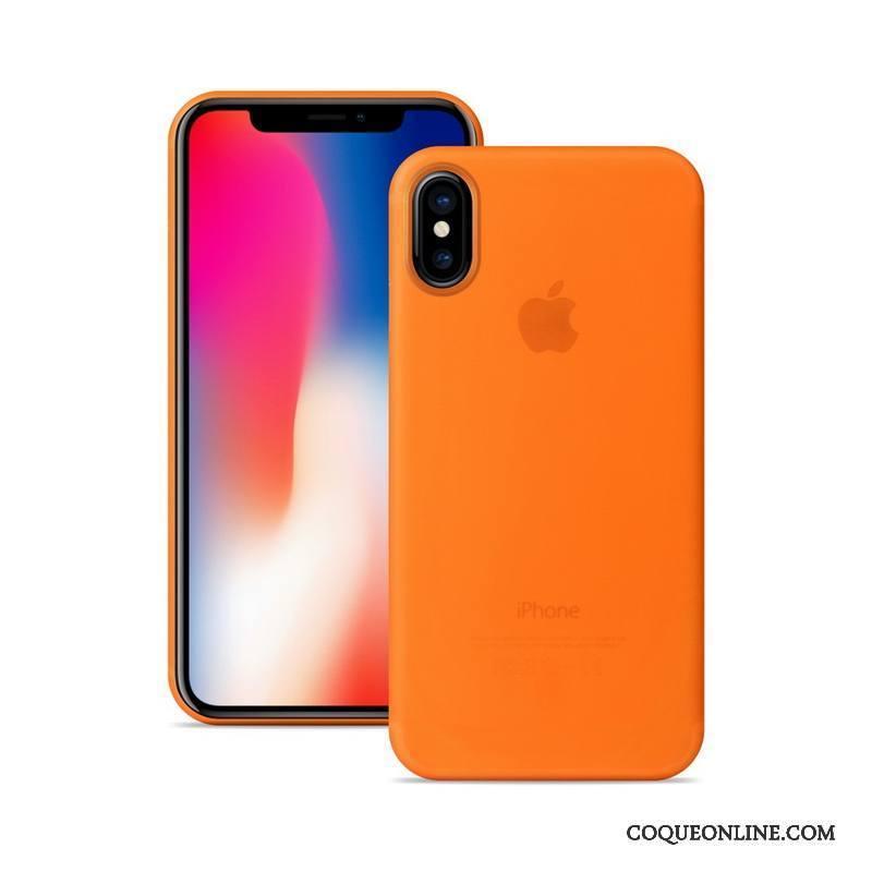 iPhone X Coque Très Mince Protection Délavé En Daim De Téléphone Orange 1833